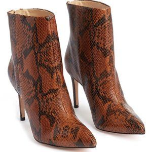 Schutz NWT Michela Brown Leather Snakeskin Bootie